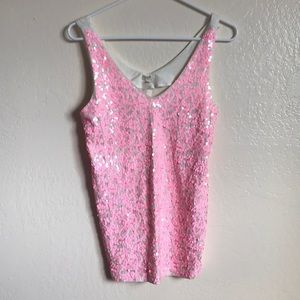 J. Crew Pink Sequin Sparkly Tank Size S